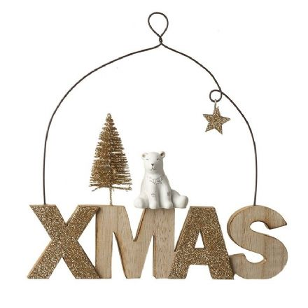 Xmas Wooden Sign With Polar Bear Decoration